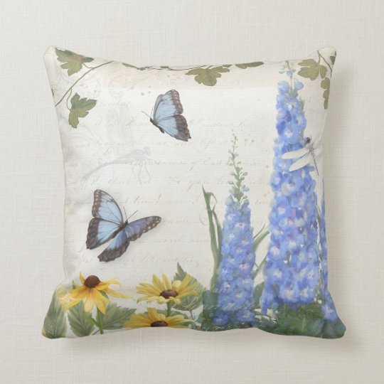 French Farm Vintage Delphinium Butterfly Script Cushion