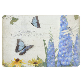 French Farmhouse Delphinium Butterfly Dragonfly Floor Mat