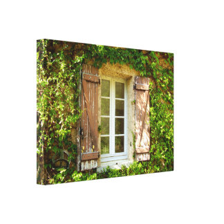 French Farmhouse Window & Shutters Canvas Print