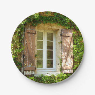 French Farmhouse Window & Shutters Paper Plate