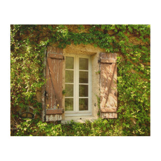 French Farmhouse Window & Shutters Wood Wall Art