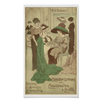 French fashion store vintage Paris 1900 Poster