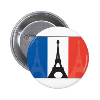 French Flag and Eiffel Tower 6 Cm Round Badge