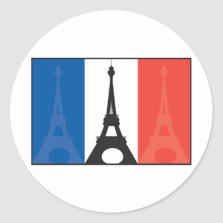 French Flag and Eiffel Tower Classic Round Sticker