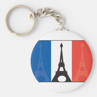 French Flag and Eiffel Tower Key Ring