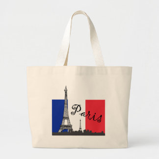 French Flag and the Eiffel Tower Large Tote Bag
