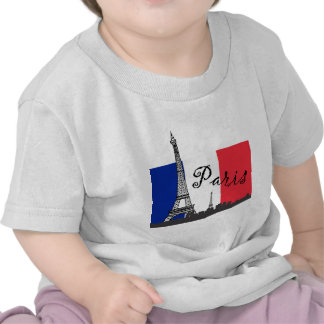 French Flag and the Eiffel Tower Tshirts