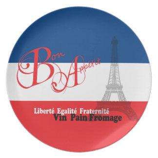 French Flag Bon Appetit Plates