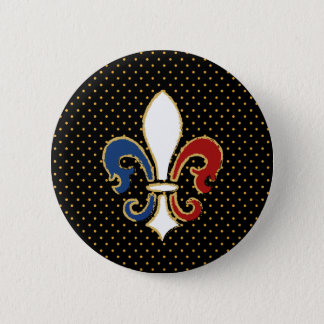 French Flag Fleur de Lis with Gold 6 Cm Round Badge