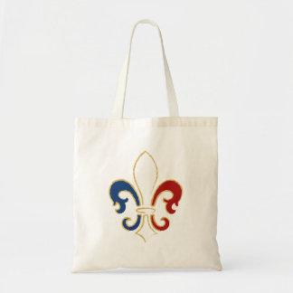 French Flag Fleur de Lis with Gold Canvas Bags