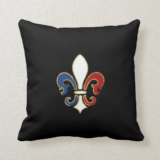 French Flag Fleur de Lis with Gold Cushion