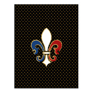 French Flag Fleur de Lis with Gold Postcard