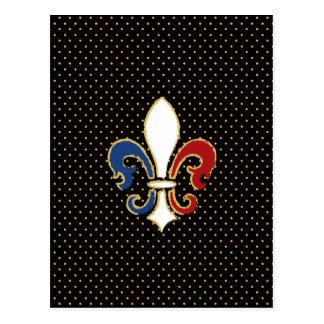 French Flag Fleur de Lis with Gold Postcard