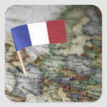 French flag in map square sticker