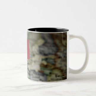 French flag in map Two-Tone coffee mug