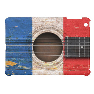 French Flag on Old Acoustic Guitar iPad Mini Cover