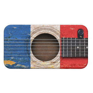 French Flag on Old Acoustic Guitar Cover For iPhone 4
