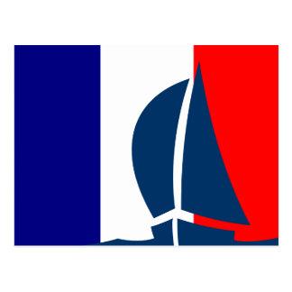 French Flag Sailing Boat France Nautical Postcard