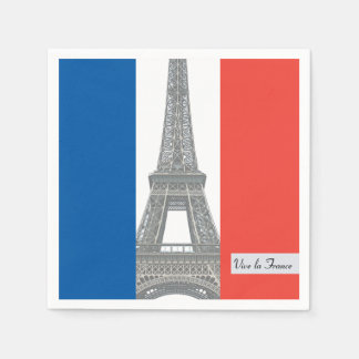 French Flag, Vive la France, Bastille Day Party Disposable Serviette