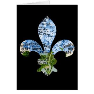 French Fleur de Lis Blue Hydrangea Card