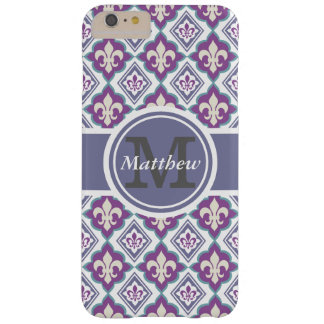 French Fleur de Lis Pattern Personalized Monogram Barely There iPhone 6 Plus Case