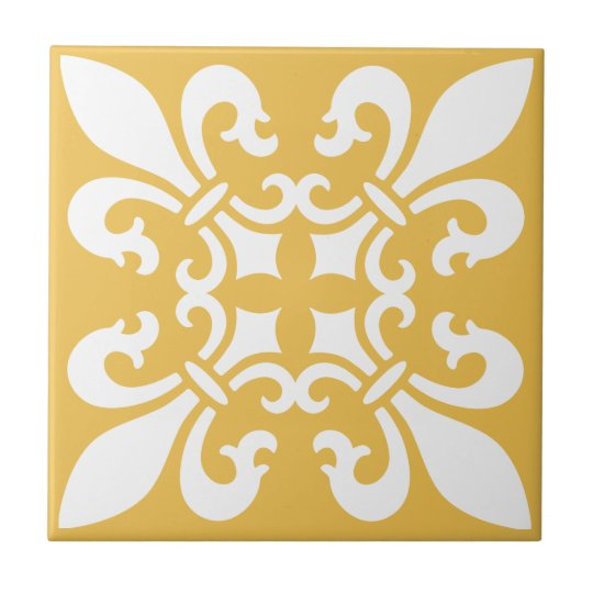 French Fleur de Lys Pattern Customisable Colour Tile