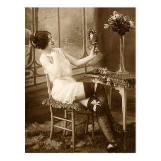 French Flirt  - Vintage Pinup Girl Postcard