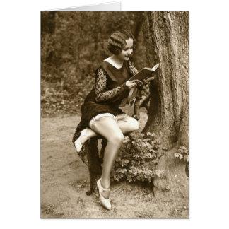 French Flirt - Vintage Pinup Girl Reading Tease Card