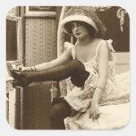 French Flirt  - Vintage Pinup Girl Square Sticker