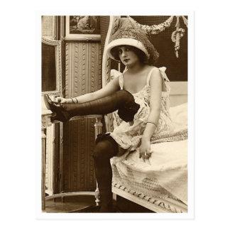 French Flirt - Vintage Pinup Post Card