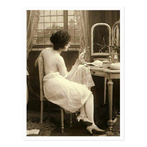 French Flirt  - Vintage Pinup Postcard