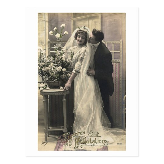 French Flirt - Vintage Romantic Love Postcard
