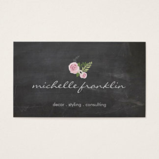 FRENCH FLORAL BOUQUET on CHALKBOARD Business Card