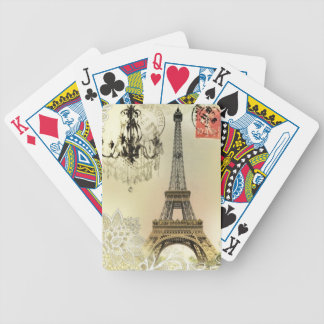 French floral lace chic paris girly eiffel tower bicycle playing cards