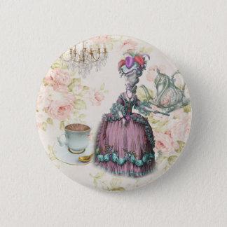 French floral Paris Tea Party Marie Antoinette 6 Cm Round Badge