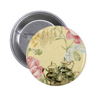French floral Teacup Teapot Paris Tea Party 6 Cm Round Badge