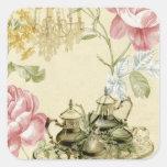 French floral Teacup Teapot Paris Tea Party Square Sticker