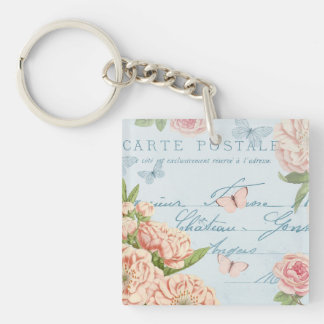 French floral vintage keychain w/ flowers