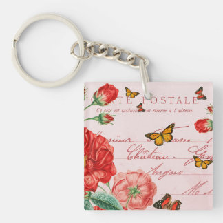 French floral vintage keychain w/ red flowers
