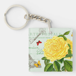French floral vintage keychain w/ yellow rose