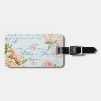 French floral vintage luggage tag w/ flowers