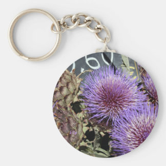 French Flower Market Purples Basic Round Button Key Ring