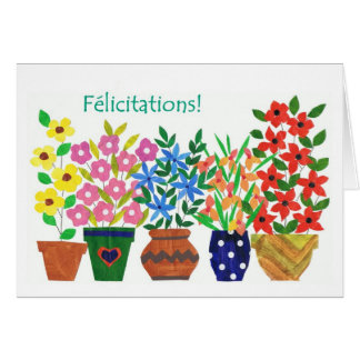 French 'Flower Power' Congratulations Card