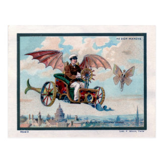 French flying machine - Victorian steampunk pilot Postcard