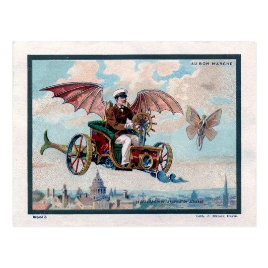 French flying machine - Victorian steampunk pilot Postcard