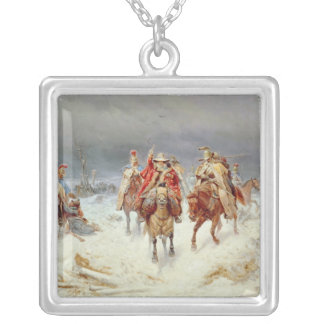 French Forces Crossing the River Berezina Silver Plated Necklace