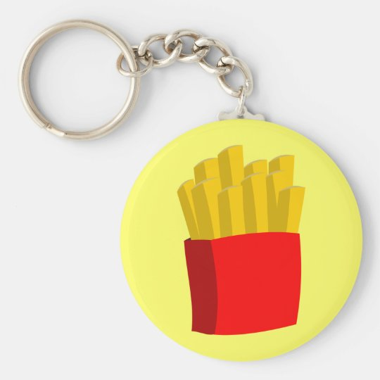 French Fries Basic Round Button Key Ring