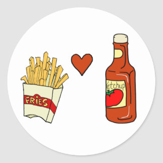 French Fries Love Ketchup Round Sticker