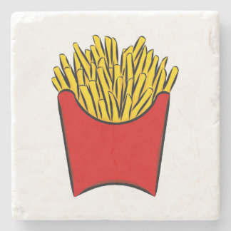 French Fries Potato Fry Sticks Yum Art Drawing Red Stone Coaster