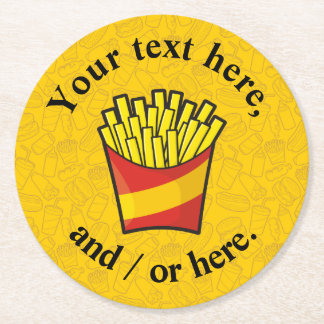 French Fries Round Paper Coaster